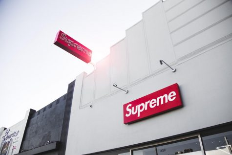 The sun shines over the Los Angeles Supreme store front