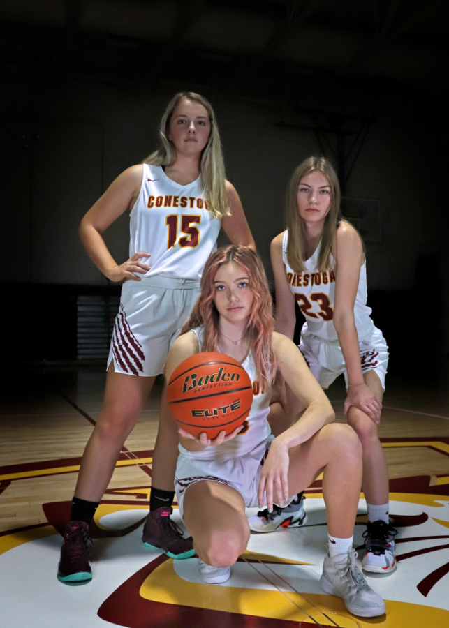 Seniors Jennifer Sedlacek (15), Myah Cummings (23) and Taylor McClatchey look to lead the Cougars in a positive direction this season. The team returns ten letter winners this season.