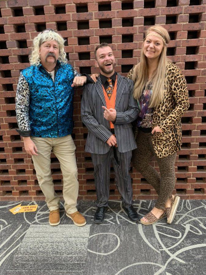 Principal Geise, Mr. Moore, and Mrs. Lewis flaunt their festive fashion on Friday, Oct. 30 at Conestoga. Conestoga students and staff were able to dress up to celebrate the holiday.