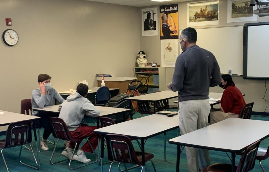 Coach Larry Welch instructs mock trial participants during a practice held at Conestoga High School.