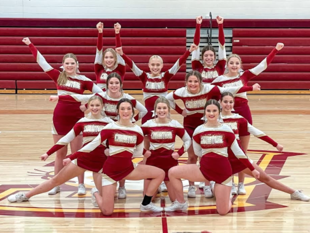 The+2020-21+Conestoga+Cheerleaders+pose+during+the+Cheer+Showcase.+The+team+holds+a+showcase+every+year+as+a+last+rehearsal+before+the+state+contest.
