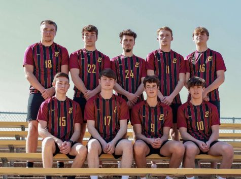 Conestoga Boys Soccer Seniors (bottom row right to left: Caden Simon, Wes Nickels, Ben Welch, Trace Widler. Top: James Parriott, Tobias Nolting, Kyle Nickels, Koby Vogler, Grant. Nickels)