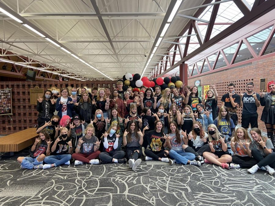 Students show off their spirt last Wednesday on Hard Rock Day. Dress up days were a big hit leading up to the homecoming weekend.